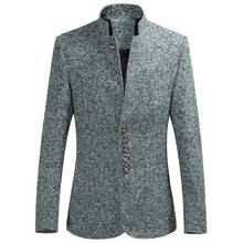 MOON LX Men's Premium Quality Mesh Plaid Standing Collar Blazer Suit Jacket - Divine Inspiration Styles