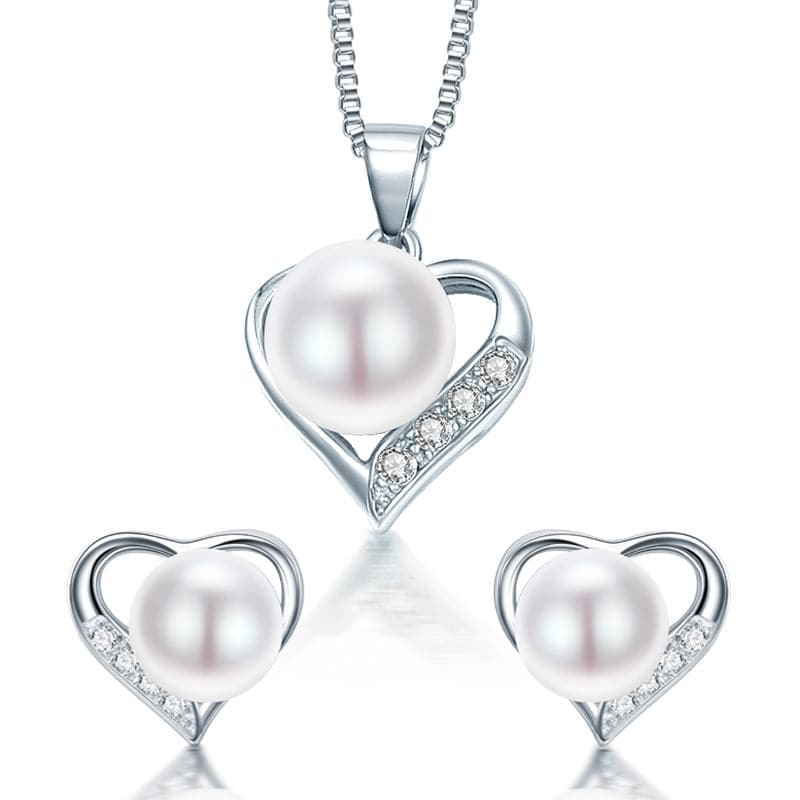 DAINASHI Romantic Heart Shape Genuine Natural Freshwater Pearl Jewelry Set