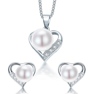 DAINASHI Women's Fine Fashion Romantic Heart Shape Genuine Natural Freshwater Pearl Jewelry Set - Divine Inspiration Styles