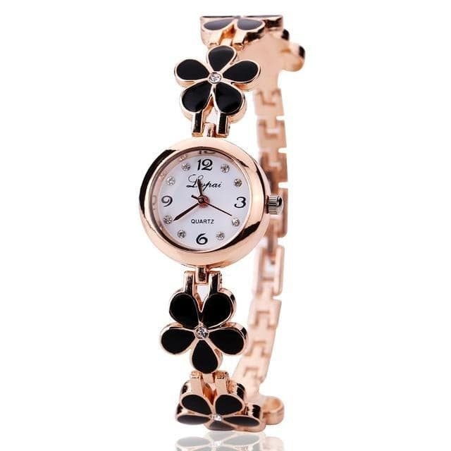 LVPAI Women's Luxury Fashion Black Pink & White Gold Floral Watch - Divine Inspiration Styles