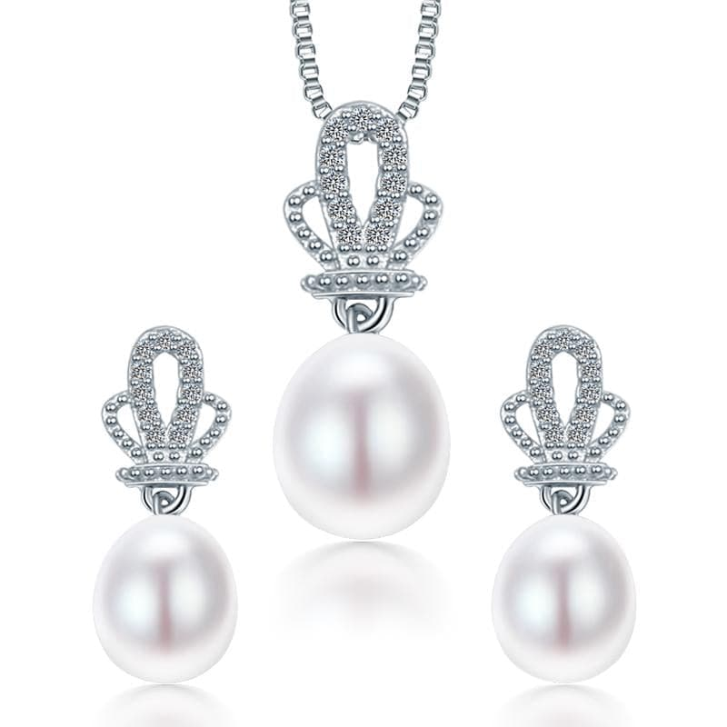 DAINASHI Women's Fine Fashion Crown Design Genuine Pearl Jewelry Set - Divine Inspiration Styles