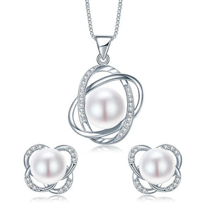 DAINASHI Wind Circle Genuine Natural Freshwater Pearl Jewelry Set