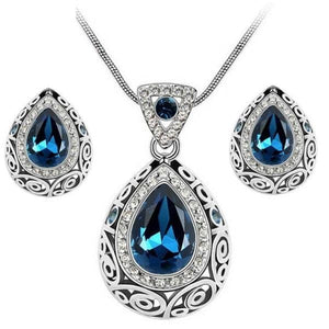 MISSLADY Women's Fashion Rhinestone Colorful Crystal Vintage Antique Style Water Drop Jewelry Set - Divine Inspiration Styles