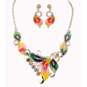 KIMJEWELRY Women's Fashion Enamel Beautiful Tropical Floral Butterfly Jewelry Set - Divine Inspiration Styles