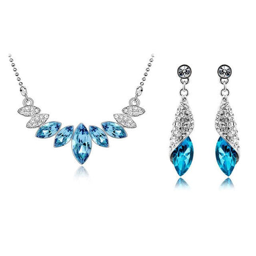 STALAIT Women's Fashion Colorful Crystals Silver Rhinestones Jewelry Set - Divine Inspiration Styles