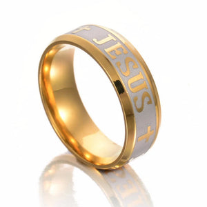 JESUS Cross Prayer Bible Faith Letter Ring for Men & Women - Divine Inspiration Styles
