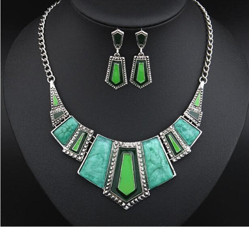 ELFERY Women's Fashion Vintage Antique Beautiful Geometric Enamel 2PCS Jewelry Set