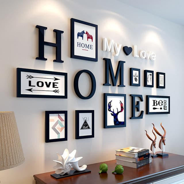 9 Pieces Home Design Wedding and Love Photo Frame and Wall Decoration Set
