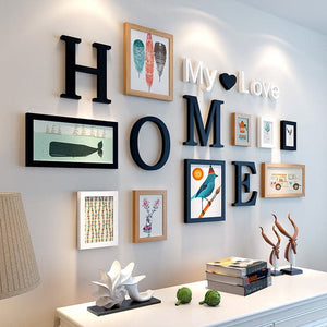 9 Pieces Home Design Wedding and Love Premium Quality Photo Frames and Wall Decoration Set