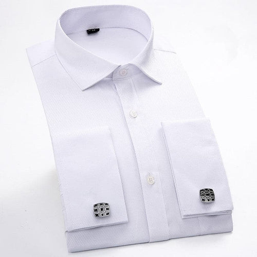 QISHA Men's Long Sleeves Dress Shirts With Cufflinks Included