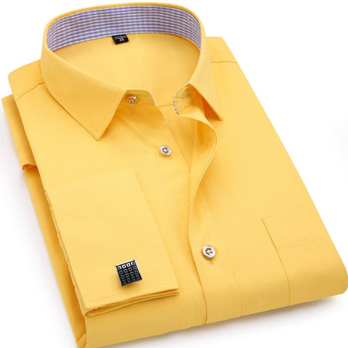 QISHA Men's Long Sleeves Dress Shirts with French Cufflinks Included