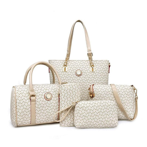MIWIND Designer Brand Leather Fashion Shoulder Handbags Five-Piece Set