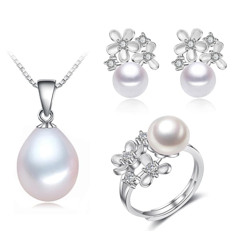 YOUNOBLE Women's Flower Petals Genuine Natural Real Freshwater Pearl Jewelry Set - Divine Inspiration Styles