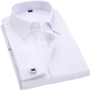QISHA Men's Long Sleeves Business Dress Shirts With French Cufflinks Included
