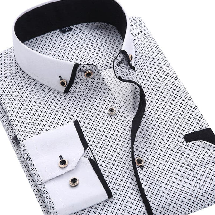 QISHA Men's Classic Fashion Casual Long Sleeves Printed Business Dress Shirts