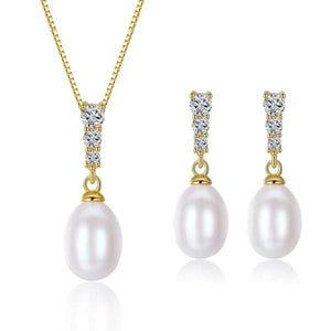 PAG & MAG Women's Genuine Natural Freshwater Pearl Jewelry Set - Divine Inspiration Styles