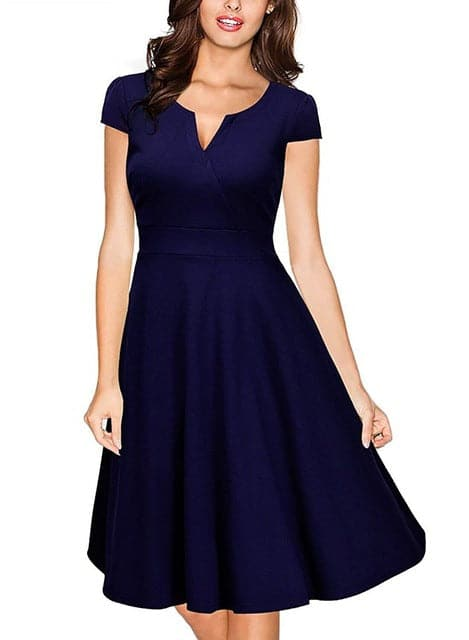 OXIULY Audrey Hepburn Style Women's Formal V Neck A-line Dress - Divine Inspiration Styles