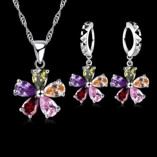 JEXXI 5 Petal Flowers Shinning Colorful Crystal Pendant Jewelry Set
