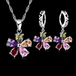 JEMMIN Women's Fine Fashion 5-Petal Floral Colorful Crystal Pendant Jewelry Set - Divine Inspiration Styles