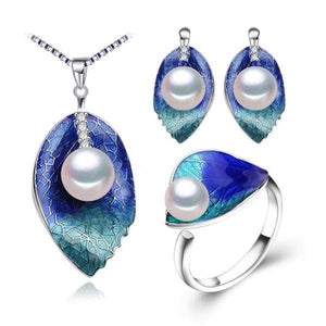 FENASY Women's Genuine Natural Freshwater Pearl Leaf of Love Jewelry Set - Divine Inspiration Styles
