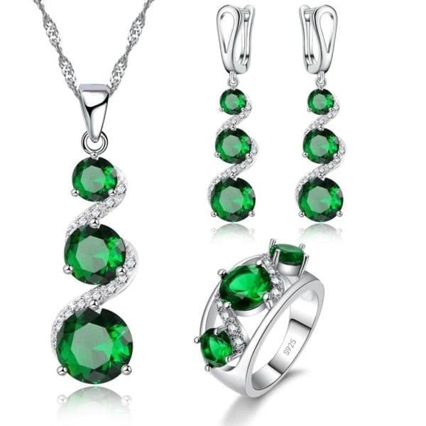 JQUEEN Women's Green Emerald CZ Sterling Silver Crystal Jewelry Set - Divine Inspiration Styles
