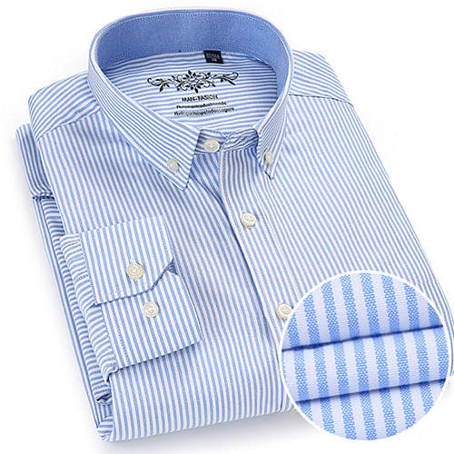 MANFASHION Men's Premium Quality Classic Long Sleeves Plaid Stripes Oxford Business Dress Shirt - Divine Inspiration Styles