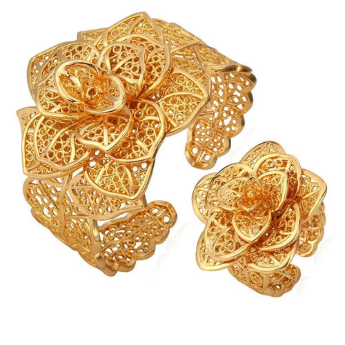 U7 Women's Vintage Flower Fashion Bangle Bracelet & Ring Jewelry Set - Divine Inspiration Styles
