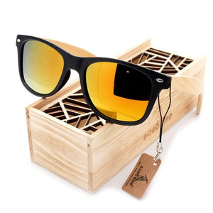 BOBO BIRD Men's Summer Style Vintage Black Square Mirrored Polarized Travel Sunglasses With Wooden Box