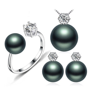 FENASY Women's Genuine Natural Freshwater Black Pearl Jewelry Set - Divine Inspiration Styles