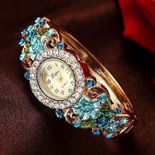 LVPAI Women's Luxury Purple Gold Pink & Blue Vintage Floral Crystal Bracelet Watch - Divine Inspiration Styles
