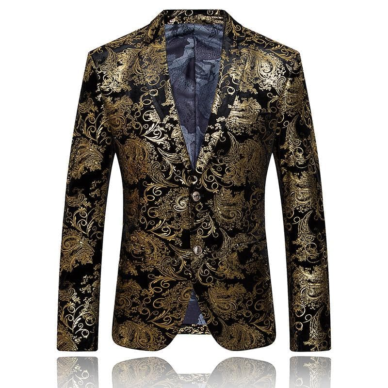 MOGU Men's Premium Quality Fashion Gold Printed Floral Blazer for Wedding Singer Prom & Stage Performers