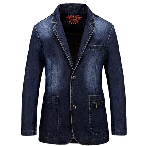 NIANJEEP Men's Premium Quality Fashion Denim Blazer Jacket