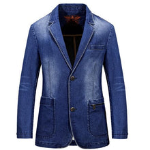 NIANJEEP Men's Premium Quality Fashion Denim Blazer Jacket - Divine Inspiration Styles