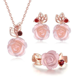 LAMOON Women's Genuine Flower Rose Natural Pink Rose Quartz Jewelry Set