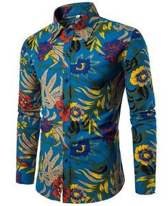 T-BIRD Men's Fashion Premium Quality Long Sleeves Hawaiian Dress Shirts - Divine Inspiration Styles