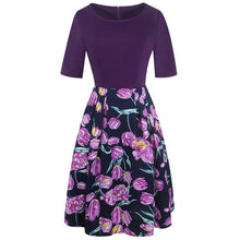 OXIULY Women's Fashion Elegant Purple Floral Print Contrast Patchwork Dress - Divine Inspiration Styles