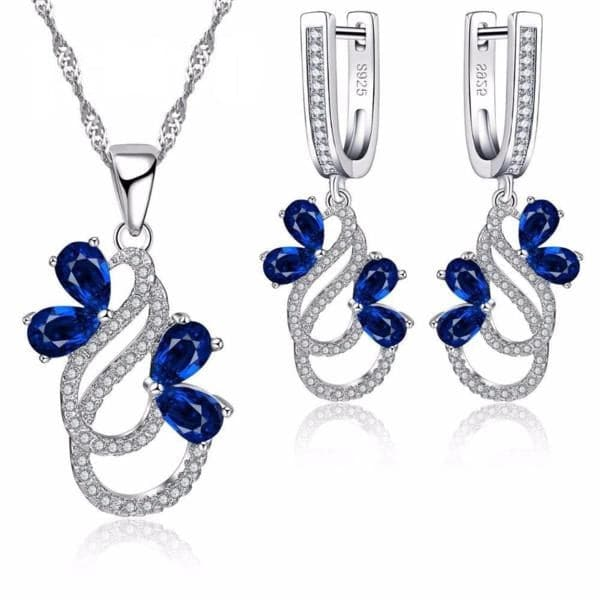JQUEEN Women's Luxury Blue Sapphire Crystal Jewelry Set - Divine Inspiration Styles