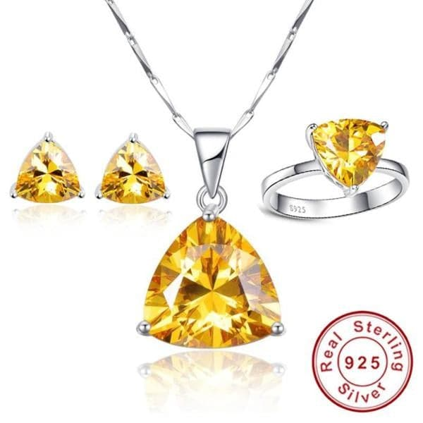JQUEEN Genuine Triangle Citrine Natural Gemstone Jewelry Set
