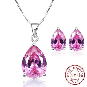 JQUEEN Women's Genuine Natural Pink Topaz 2PCS Jewelry Set - Divine Inspiration Styles