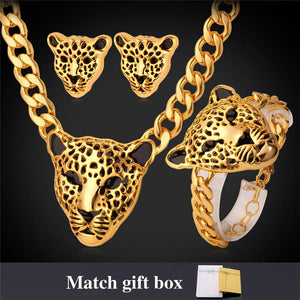 STARLORD Women's Fine Fashion Leopard Statement Necklace Bracelet & Earrings Jewelry Set - Divine Inspiration Styles