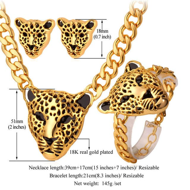 StarLord Women's Fashion Leopard Statement Necklace Bracelet and Earrings Jewelry Set