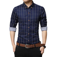 LANGBEEYAR Men's Business Casual Fashion 3/4 Long Sleeves Plaid Dress Shirt - Divine Inspiration Styles