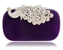 YINGMI-ROYAL-PEACOCK Women's Fashion Statement Crystal Rhinestone Day and Evening Clutch Bag - Divine Inspiration Styles