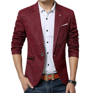 MWXSD Men's Classic Mesh Plaid Casual Blazer