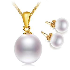 NPH Women's 18K Gold Genuine Natural Freshwater White Pearl Jewelry Set - Divine Inspiration Styles
