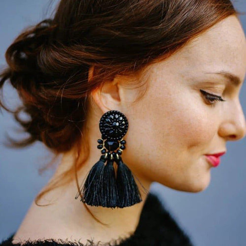 HOCOLE Women's Elegant Tassel Earrings Vintage Statement Tassel Fashion Earrings - Divine Inspiration Styles