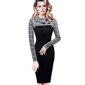 NICE-FOREVER Women's Fashion Classic Elegant Fitted Patchwork Collar Button Sheath Dress - Divine Inspiration Styles
