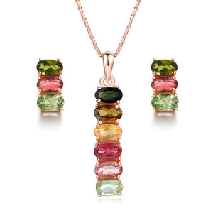 MBY Women's Fine Fashion Multi-Color Genuine Tourmaline Fine Jewelry Set - Divine Inspiration Styles