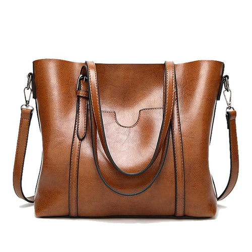 HERALD FASHION Women's Genuine Polished Leather Premium Quality Large Capacity Tote Bag - Divine Inspiration Styles