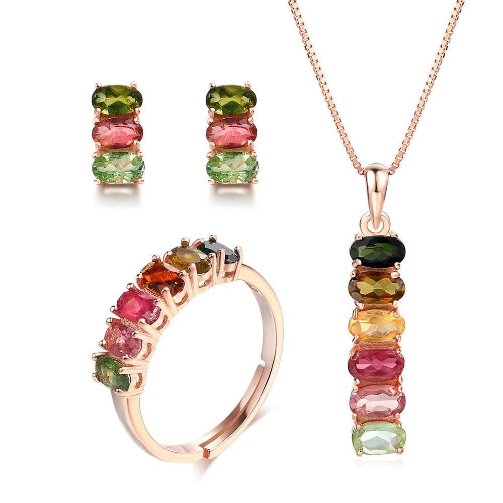 MBY Women's Fine Fashion Genuine Natural Gemstone Multi-Color Tourmaline Fine Jewelry Set - Divine Inspiration Styles